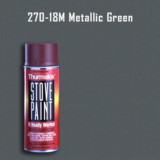 Heat Resistant Paint Colors  - Thurmalox Metallic Green Stove Paint - 12 oz. Aerosol Spray Can