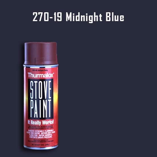 Heat Resistant Paint Colors  - Thurmalox Midnight Blue Stove Paint - 12 oz. Aerosol Spray Can