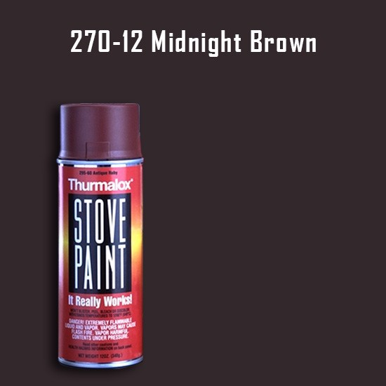 Heat Resistant Paint Colors  - Thurmalox Midnight Brown Stove Paint - 12 oz. Aerosol Spray Can