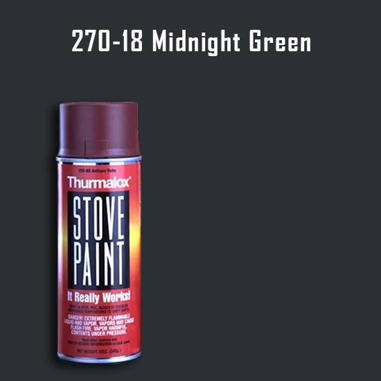 Heat Resistant Paint Colors  - Thurmalox Midnight Green Stove Paint - 12 oz. Aerosol Spray Can