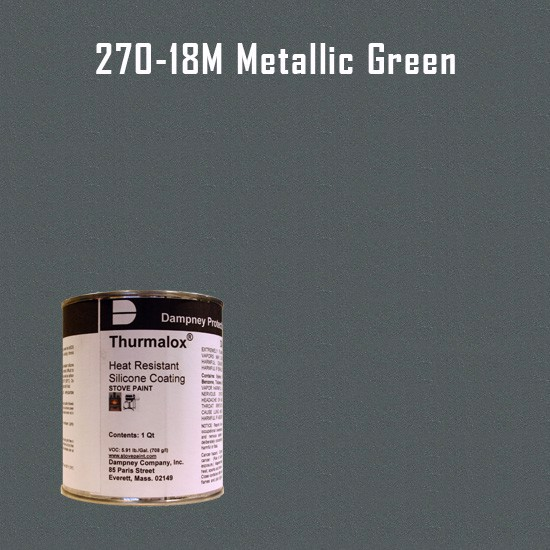 Heat Resistant Paint Colors  - Thurmalox Metallic Green High Temperature Stove Paint - 1 Quart Can