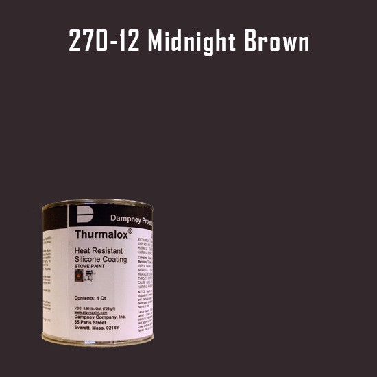 Heat Resistant Paint Colors  - Thurmalox Midnight Brown  High Temperature Stove Paint - 1 Quart Can