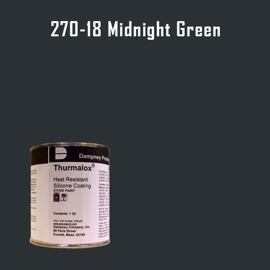 Heat Resistant Paint Colors  - Thurmalox Midnight Green High Temperature Stove Paint - 1 Quart Can