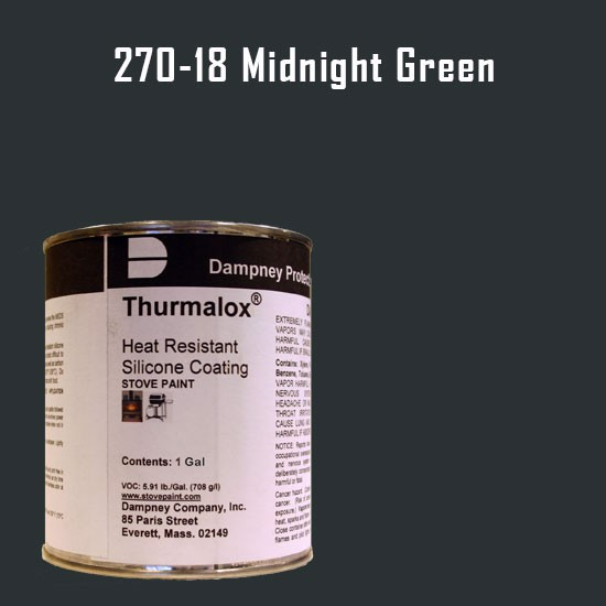 Fireplace Paint Colors  - Thurmalox Midnight Green High Temperature Stove Paint - 1 Gallon Can