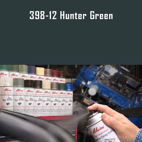 High Temperature Coatings - Alvin Products Hunter Green High Heat Automotive Engine Spray Paint - 12 oz. Aerosol Spray Can