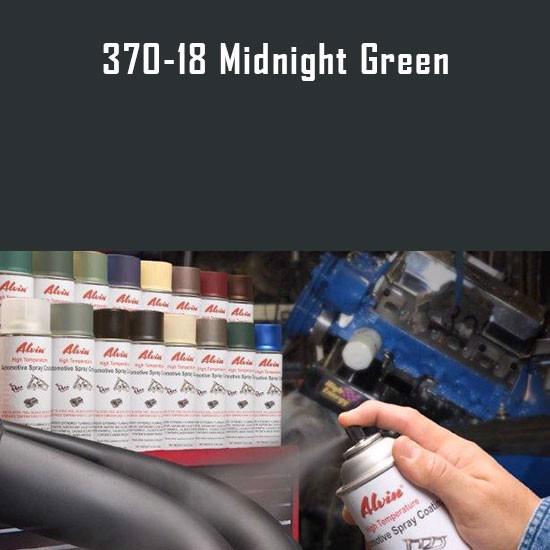 High Temperature Coatings - Alvin Products Midnight Green High Heat Automotive Engine Spray Paint - 12 oz. Aerosol Spray Can
