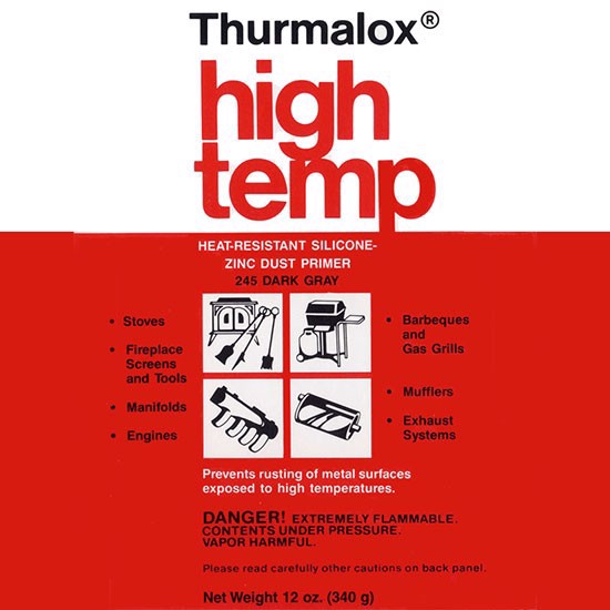 High Heat Paints - Zinc Dust Primer - 12 oz. Aerosol Spray Can - THURMALOX 245 PRIMER IS ONLY RECOMMENDED ON BARE SURFACES FOR EXTERIOR APPLICATIONS
