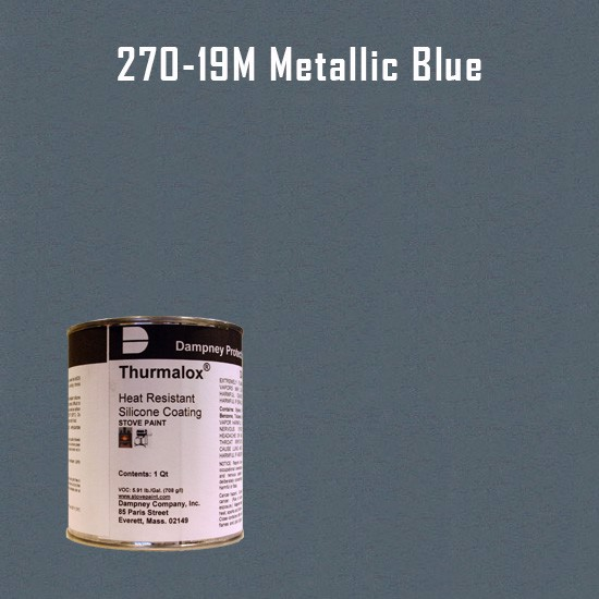 Heat Resistant Paint Colors  - Thurmalox Metallic Blue High Temperature Stove Paint - 1 Quart Can