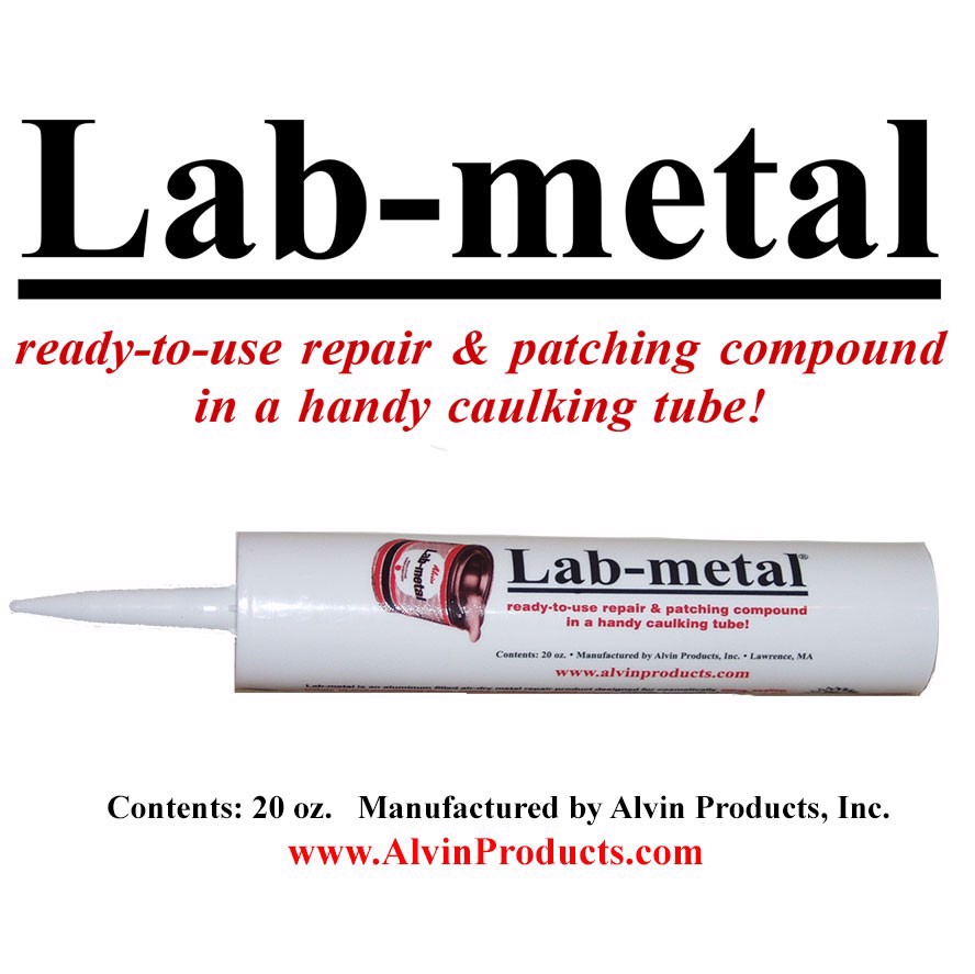 Metal repair putty, dent filler and patching compound - Lab-metal (20 oz. Caulking Tube)