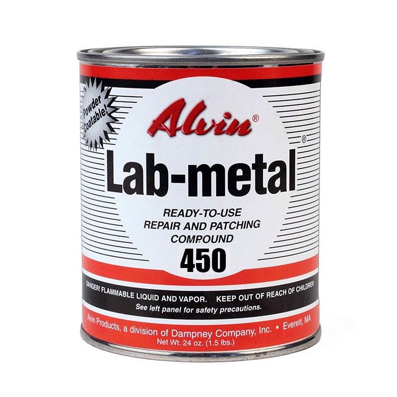 Metal repair putty, dent filler and patching compound - Similar properties to regular Lab-metal but will air dry and withstand 450F without the need for